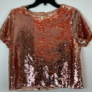 Chelsea and Violet Rose Gold Sequin Top